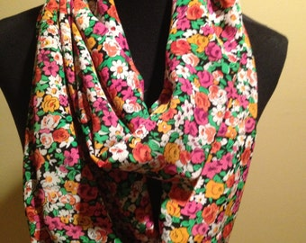 New Long Floral Infinity Scarf, Pink, Orange, Green, Black and White