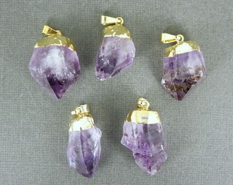 Amethyst Point Pendant - Raw Amethyst with gold electroplated cap BeautfuL  WHOLESALE (S122B3)
