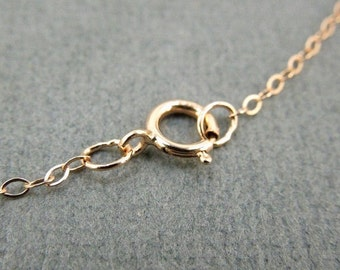 """Rose Gold Fill Chain Finished 30"""" Flat Cable 1.3mm"""