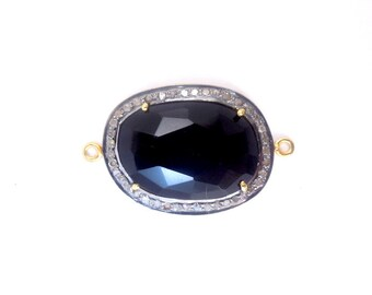 Black Onxy Oval Cabochon Double Bail Connector Pendant in a Gold Vermeil and Pave DIAMOND Setting (EX1-21-03)