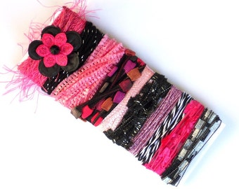 Yarn Sampler - Pink & Black Fiber Card, Yarns Card for Collage Art, Felting, Scrapbooking, Millinery Supply, Novelty Fiber Bundle - C3A