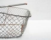 Vintage Wire Basket, Market Basket, Collapsible Folding Basket, Gathering Basket