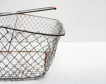 Vintage Wire Basket, Market Basket, Collapsible Folding Basket, Gathering Basket