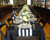 Table Runner - Black and White Canopy Stripe Table Runners - Striped Table Runners For Weddings or Home Decor - Select A Size