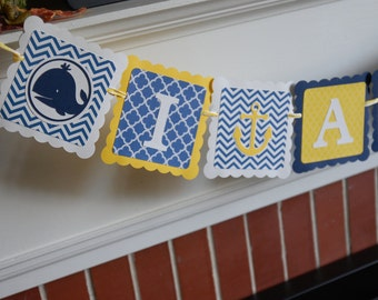 I am 1 Banner, Nautical 1st Birthday, Whale and Anchor Birthday, High Chair Banner, Navy Yellow