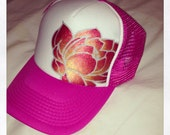 Hot pink trucker with silver outline and goldy/deep red ombré lotus