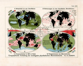 1900 WORLD MAP - 114 Years Old Antique original Map of the World