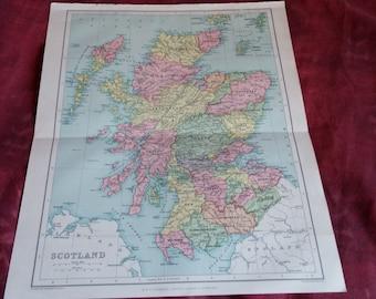 1922 SCOTLAND Vintage Map, old maps