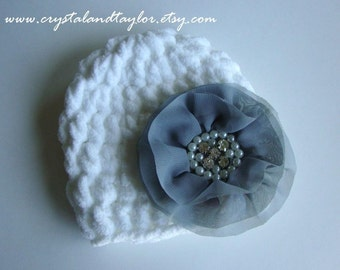 Flower Hat, Baby Girl Hat, Baby Hat, Newborn Crochet Hat, Flower Hat, Photo Prop, Baby Flower Hat, White and Gray
