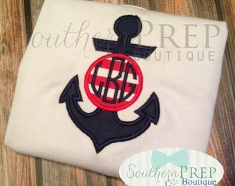 Anchor Monogram Applique - Summer Sale - Summer Shirt - Monogram- Boys Shirt