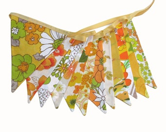 Vintage Bunting - Retro TROPICAL SUMMER Multi Orange Yellow Green - Floral Flags . 'Sunshine' Shabby Chic Decoration. Flower Power Birthday