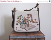 Enid Collins / Enid Collins Purse / 70s Bag / Jeweled / Collins of Texas / Collins of Texas Bag / Gem / Khaki Bag / Folk Art / Floral Bag - TheThriftingMagpie