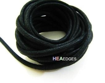 Cotton Wax Cord 1 Yard 5mm x 4mm - Black Round Round Oval Cotton Wax Cords