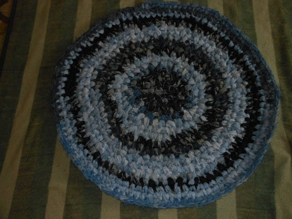 Crochet Round Rug : Denim Crochet Round Upcylced Rag Rug by melmac84 on Etsy