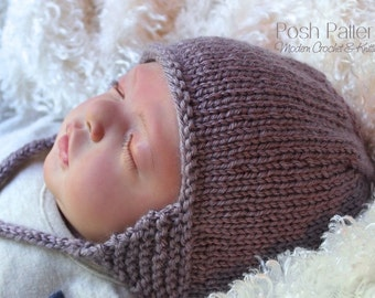 Baby Earflap Hat Knitting Pattern : Knitting PATTERN - Baby Earflap Knit Hat Pattern - DK Yarn - Includes Baby, T...