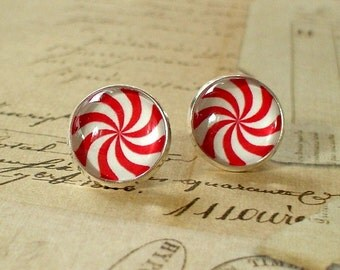 20% OFF - Christmas Peppermint Candy Red and white Cabochon Stud Earring,Earring Post,Cute Gift Idea