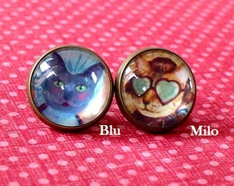 20% OFF --Milo and Blu Cat Victorian portrait Stud earring , Beautiful gift for her