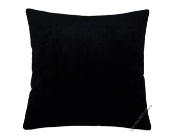 "Black Velvet Solid Decorative Throw Pillow Cover / Pillow Case / Cushion Cover / 18x18"" Square"