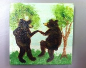 "Bears Dancing 1  Miniature canvas painting 3"" X 3"" with 5"" easel. Acrylic Painting,doll house accessory, Bear painting, bear"