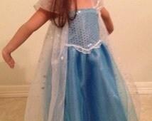Frozen Queen Elsa Dress Handmade Girls Frozen Dress Elsa Disney Frozen Princess Elsa Floor Length Tutu Dress, Fancy Dress Costume