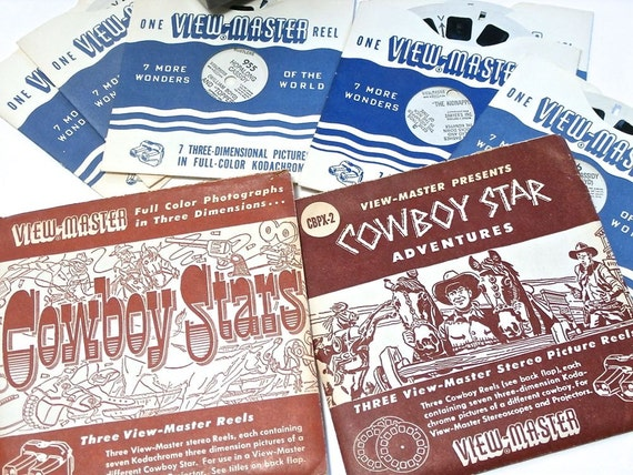 Cowboy Stars - Vintage View Master Reels - Roy Rogers - Gene Autry - Hopalong Cassidy