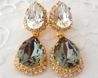 Gray and clear Rhinestone Chandelier earrings, Drop earrings, Dangle earrings, Bridal earrings, Wedding jewelry, Bridesmaids earrings