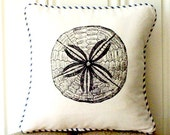 "shabby chic, feed sack, french country, vintage sand dollar graphic with french ticking welting 14"" x 14"" pillow sham."