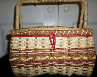 Vintage SEWING Basket  BOX ..Wicker ..Red ..50s ..10 x 7 ..Vcagco ..Japan ..