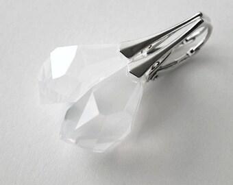 White Opal Swarovski Crystal  Drop Earrings, Sterling Silver Dangle Earrings, Wedding Jewelry