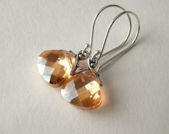 Tangerine Earrings, Sterling Silver Dangle Earrings, Wedding Jewelry,  Birthstone Drop Earrings