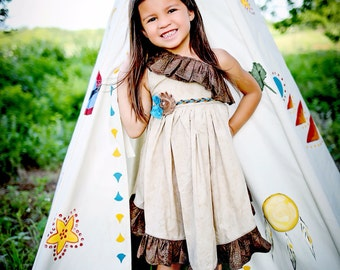 Pocahontas Inspired Girls Dress Sizes 12 months, 18 months, 2t, 3t, 4t, 5t, 6, ,7, 8