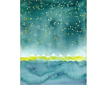 Original watercolor Teal Starry night illustration art painting whimsical stars sky and ocean constellation celestial