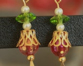 Beaded Dangle Holiday Earrings