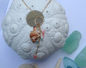 Gold Filled Triton Sea Charms Necklace