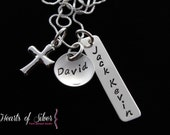 Sterling Silver Cross Charm Necklace- Hand Stamped Mommy Jewelry- Personalized Necklace