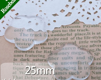 50PCS 25mm Plum-blossom shape Flat Back clear Crystal glass Cabochon C3686