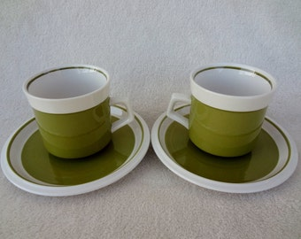 Vintage Mikasa Light 'N Lively Green Cups and Saucers