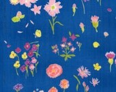 Nani Iro double gauze,Sen ritsu in Embrace, floral on pool blue,  by the yard