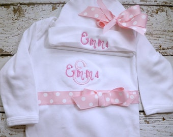 Personalized Coming Home Outfit, Take  Home From Hospital Outfit,  Layette Gown, or one piece and Hat Set, Girls Coming Home outfit pink