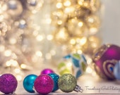 Christmas photography home decor lights holiday photo dreamy silver red pink green blue gold glitter bokeh ornaments fine art photo wall art