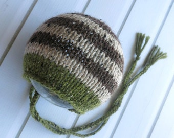 Newborn Green and Brown Striped Wool Tweed Classic Knit Bonnet - Ready to Ship Newborn Photography Prop