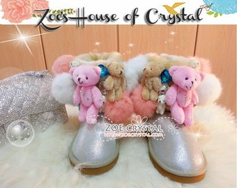 PROMOTION WINTER Bling and Sparkly Short White Metallic SheepSkin Wool BOOTS w Cute Bear Bear