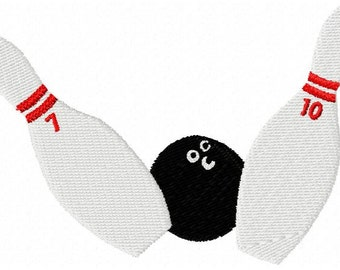 Bowling Embroidery Design - Instant Download