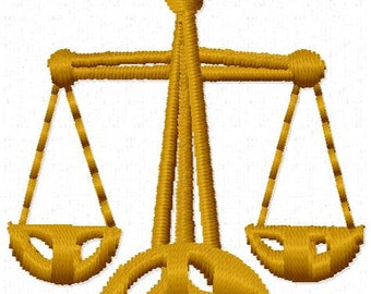 Justice Scales Embroidery Design - Instant Download