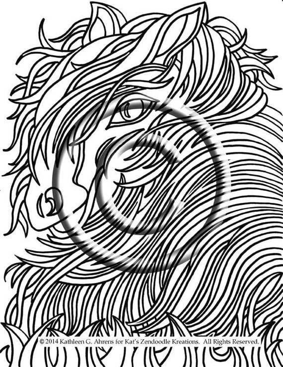 Abstract Horse Coloring Pages : Instant pdf download coloring page hand drawn by