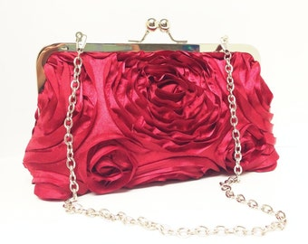 Gift for her Red Romantic Rosette Clutch with Chain Ready to Ship
