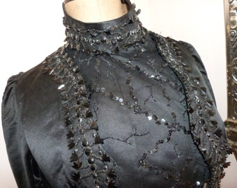 Victorian jacket blouse Antique French black silk satin boned jacket w jet stone beads cabuchons 1800s gothic steampunk clothing goth women