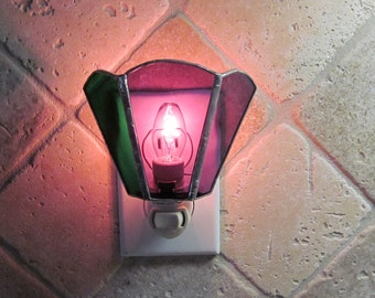Purple/Green Stained Glass Night Light - Handcrafted Authentic Stained Glass - Mardi Gras Colors