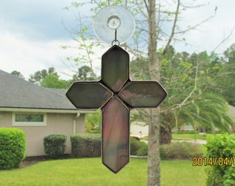Gray and White Iridescent Swirled Opalescent Stained Glass Cross  -  Unusual Gift Idea
