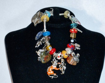 SALE Animal Lover's Charm Bracelet Silver Plated Snake Shape, Metal Gold Plated Clasp w/ 27 Hearts CHARMS & Glass European Beads. Only 19.90